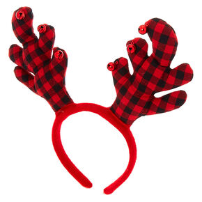 Plaid Reindeer Antlers Headband - Red,
