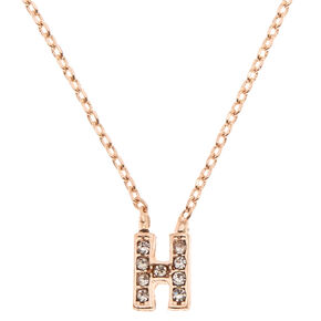 Rose Gold Embellished Initial Pendant Necklace - H,