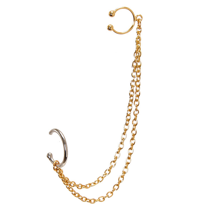 021bccbe25b Gold Tone Chain Ear Cuff & Silver Mini Hoop Earring