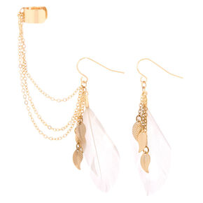 Gold Feather Ear Connector Earrings,