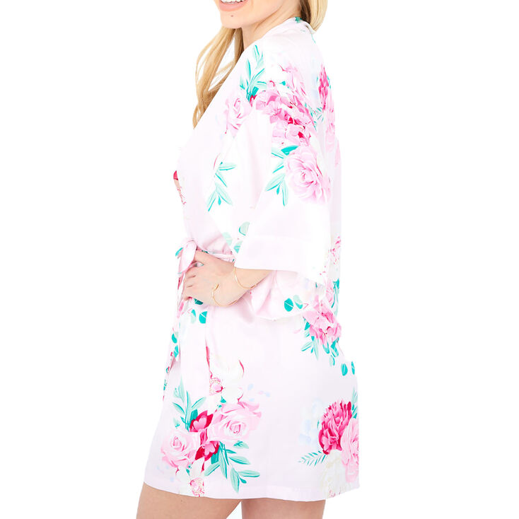 Pink Floral Satin Robe - S/M,