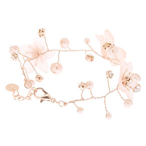 Rose Gold Frosted Flower Chain Bracelet,