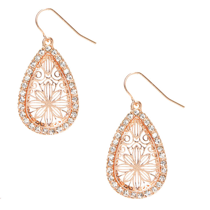 "Rose Gold 1.5"" Drop Earrings,"