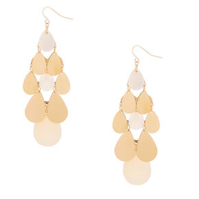 "Gold 3"" Chandelier Drop Earrings - White,"