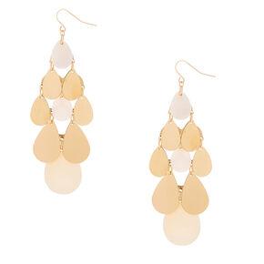 """Gold 3"""" Chandelier Drop Earrings - White,"""