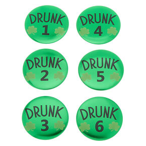 Shamrock Drunk Buttons - Green, 6 Pack,