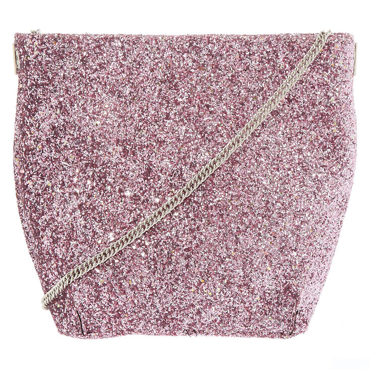 Mini Glitter Tote Crossbody Bag - Pink,