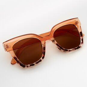 Two Tone Tortoseshell Retro Sunglasses - Nude,