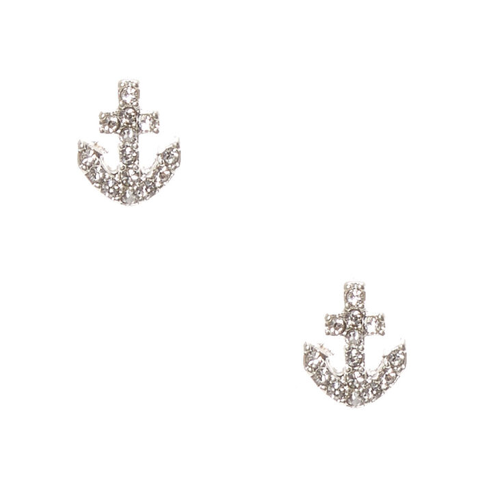 Silver-Tone Faux Rhinestone Anchor Stud Earrings,