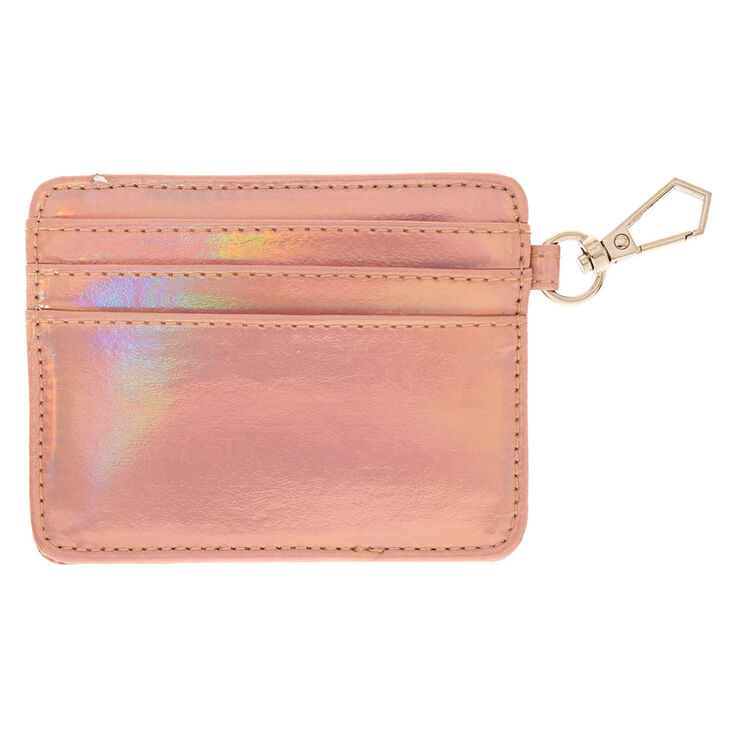 Faux Leather Holographic Peach ID Holder,