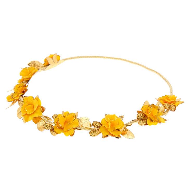 Gold Flower Crown Headwrap - Mustard,