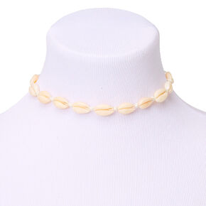 Cowrie Shell Choker Necklace - White,