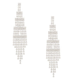 "Silver Rhinestone 3"" Skyscraper Drop Earrings,"