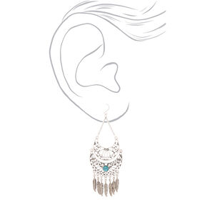 """Silver 3.5"""" Western Feather Drop Earrings - Turquoise,"""