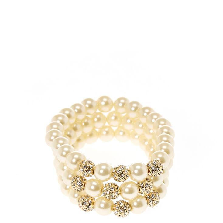 Ivory Faux Pearl & Gold Tone Fireball  Bracelets,