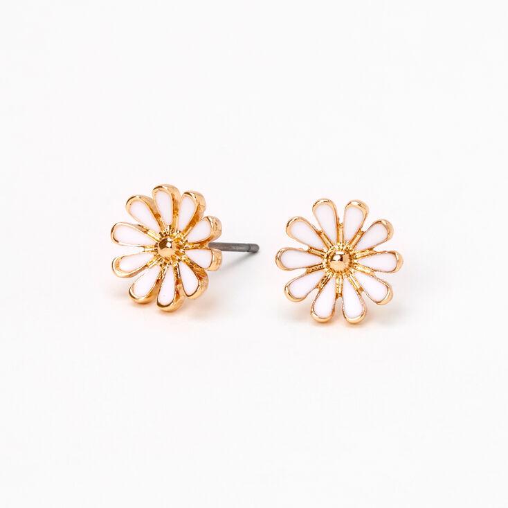 Gold Daisy Flower Stud Earrings - White,