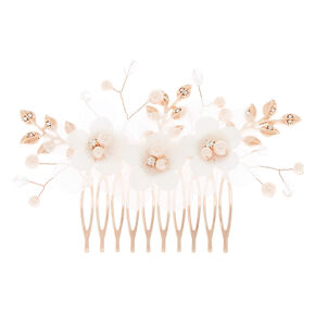 Flower & Leaf Pearl Hair Comb,