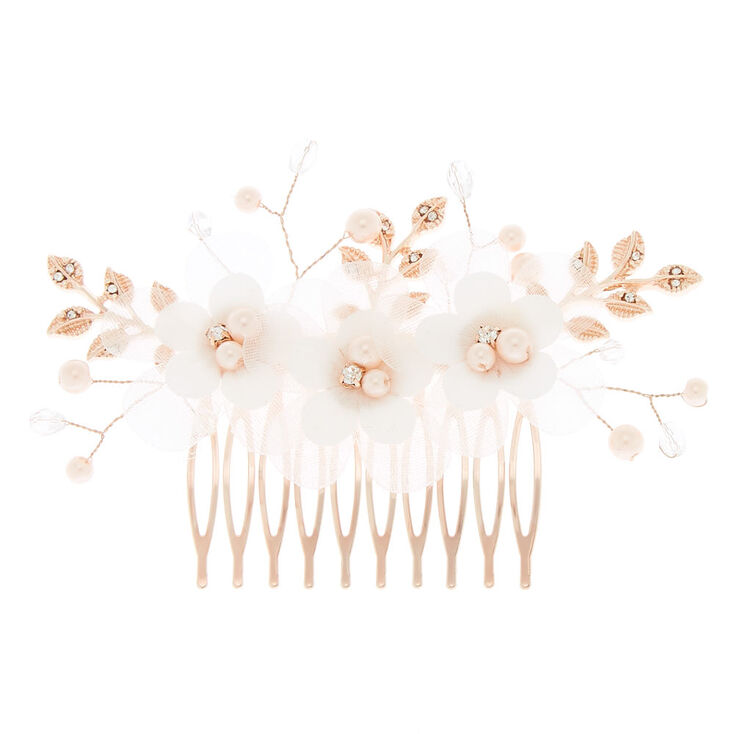 Flower & Leaf Pearl Hair Comb,