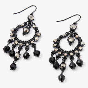 "Jet Black 2.5"" Vintage Rhinestone Beaded Chandelier Drop Earrings,"