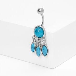 Silver 14G Dreamcatcher Stone Belly Ring - Turquoise,