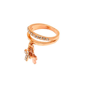Rose Gold Cross Charm Double Band Midi Ring,