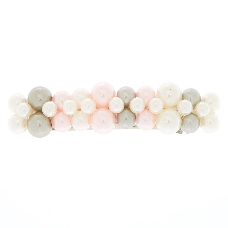 Mixed Faux Pearls Hair Barrette,