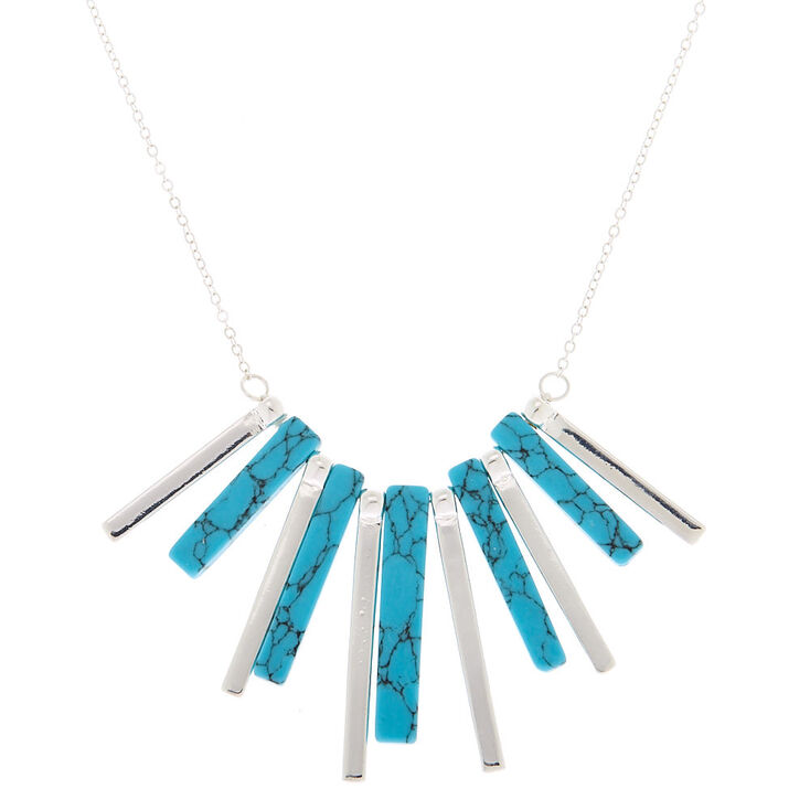Silver Marble Stick Statement Necklace - Turquoise,