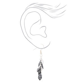 """Silver 1.5"""" Mini Leaf Drop Earrings - Black,"""