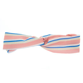 Striped Knot Turban Headwrap - Pink,