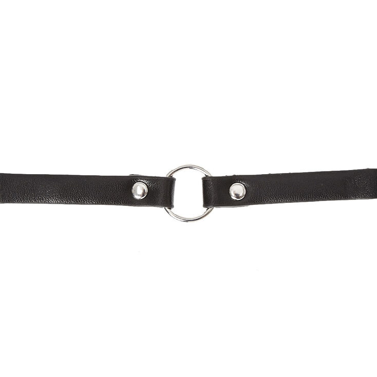 Black Faux Leather Choker with Pendant,