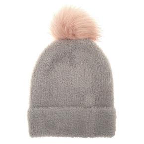 Fuzzy Pom Beanie - Gray,