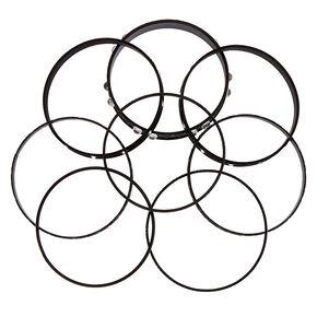 Gothic Glam Bangle Bracelets - Black, 8 Pack,