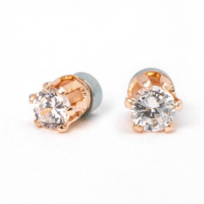 Rose Gold Cubic Zirconia Round Magnetic Stud Earrings - 3MM,
