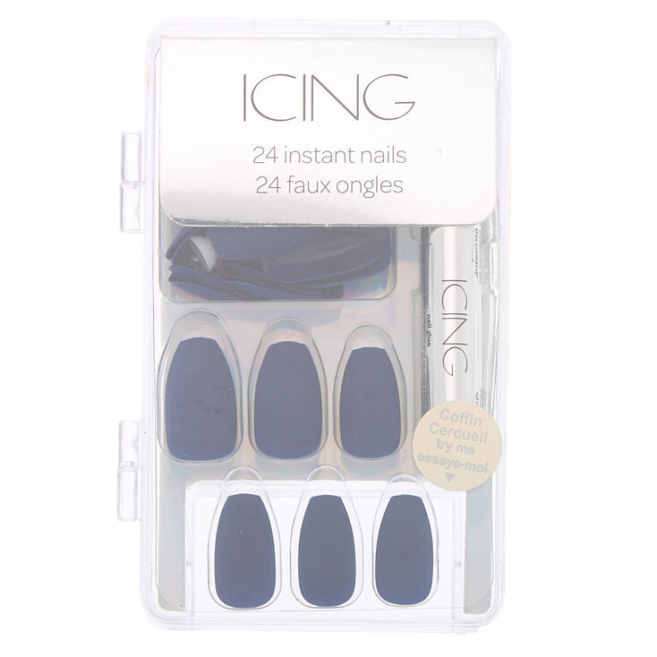 Matte Coffin Faux Nail Set - Navy, 24 Pack,