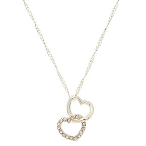 Silver Linked Heart Pendant Necklace,