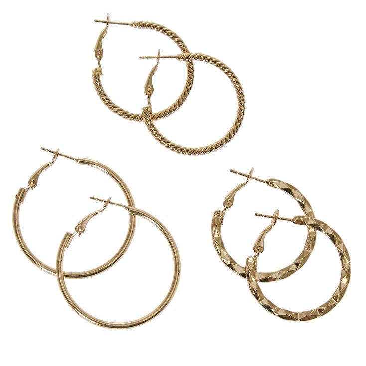 Gold Tone Graduated Textured Hoop Earrings,