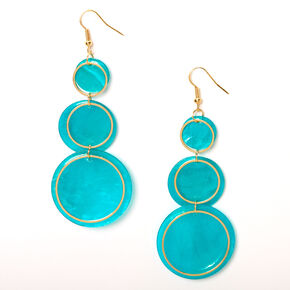 "Gold 3"" Round Seashell Trio Drop Earrings - Turquoise,"