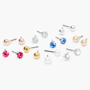 Pearl and Crystal Assorted Stud Earrings - 9 Pack,