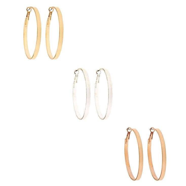 6 Pack Mixed Metal Stud & Flat Hoop Earrings Set,