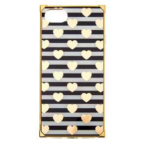 Striped Heart Square Phone Case - Fits iPhone 6/7/8/SE,