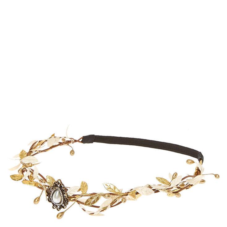 Gold & Ivory Leaf Flower Crown Headwrap,