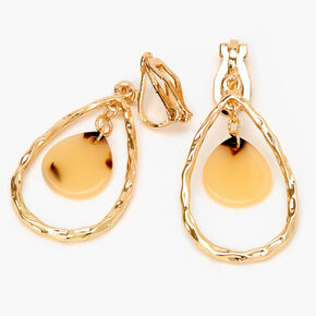 "Gold 1.5"" Textured Tortoiseshell Teardrop Clip On Drop Earrings,"