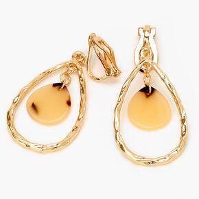 """Gold 1.5"""" Textured Tortoiseshell Teardrop Clip On Drop Earrings,"""