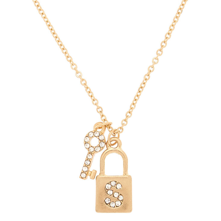 Gold Lock & Key Initial Pendant Necklace - S,