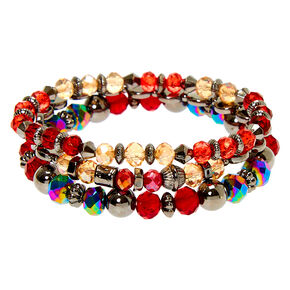 Hematite Bead Stretch Bracelets - Red, 3 Pack,