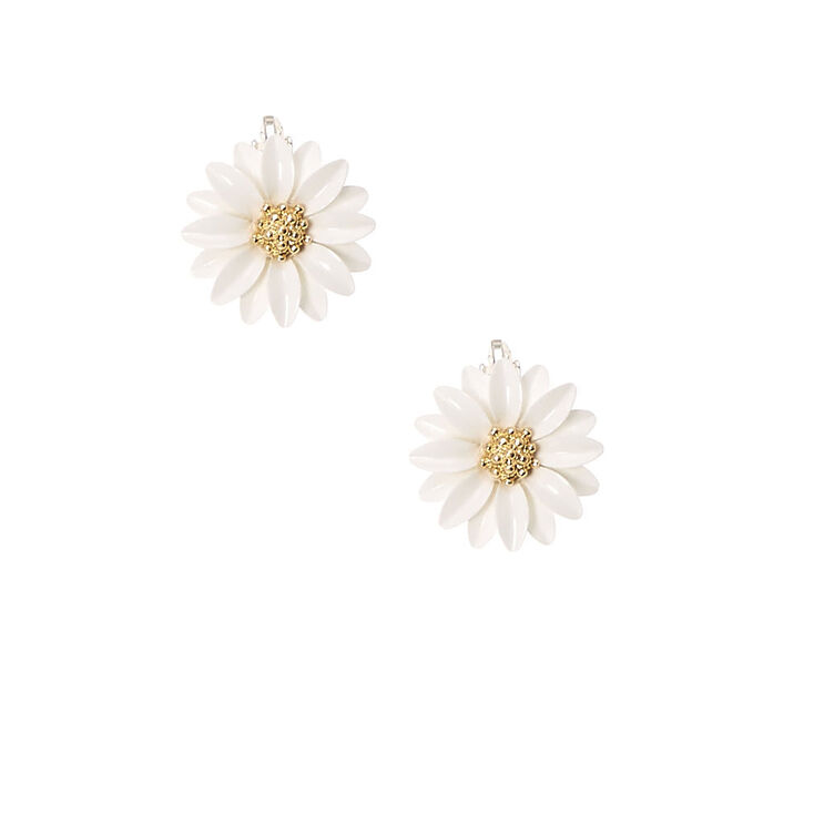 White Daisy Clip On Stud Earrings,