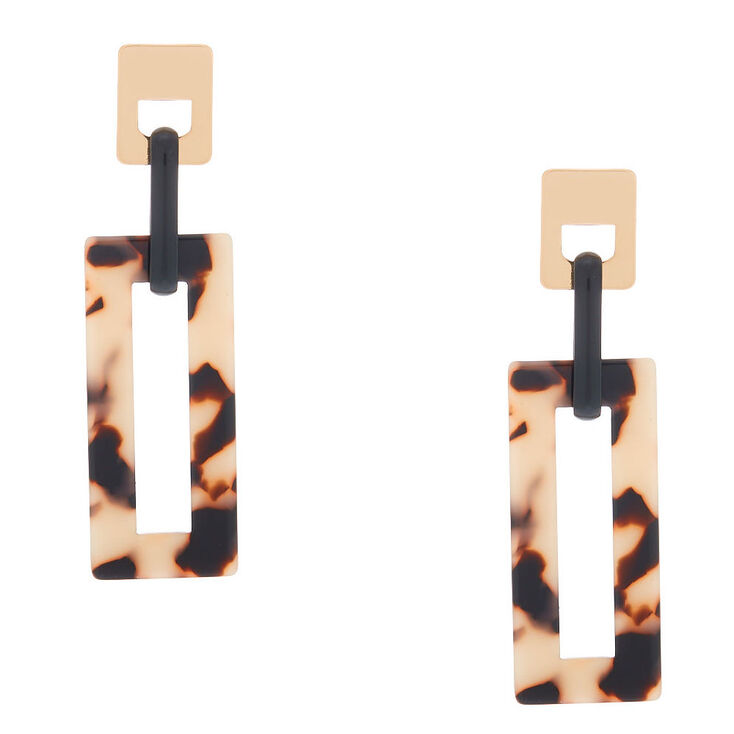 "Gold 2.5"" Rectangle Tortoiseshell Drop Earrings,"