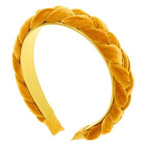 Suede Braided Headband - Mustard,