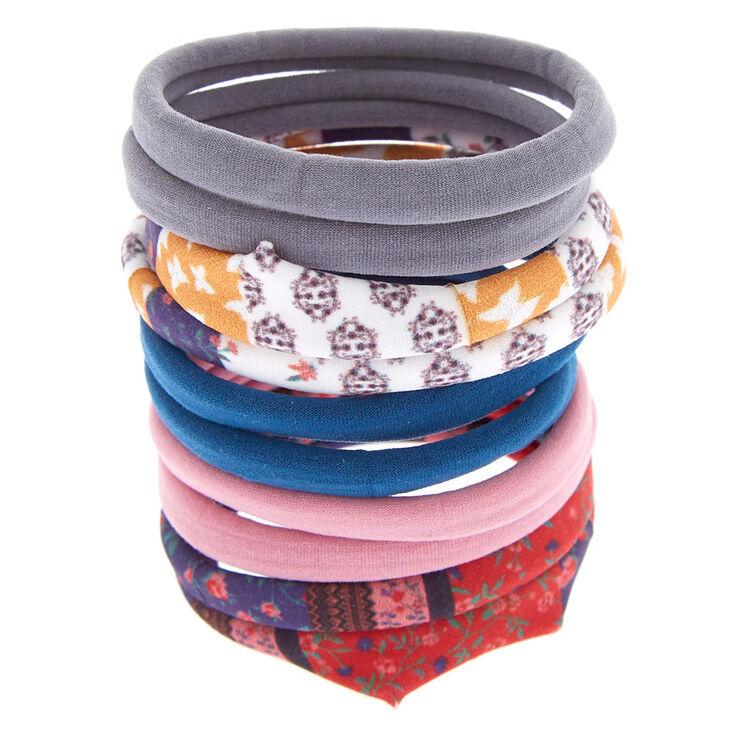 Floral, Paisley & Solid Hair Ties - 10 Pack,