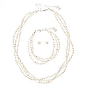 Classic Glass Pearl Jewelry Set,